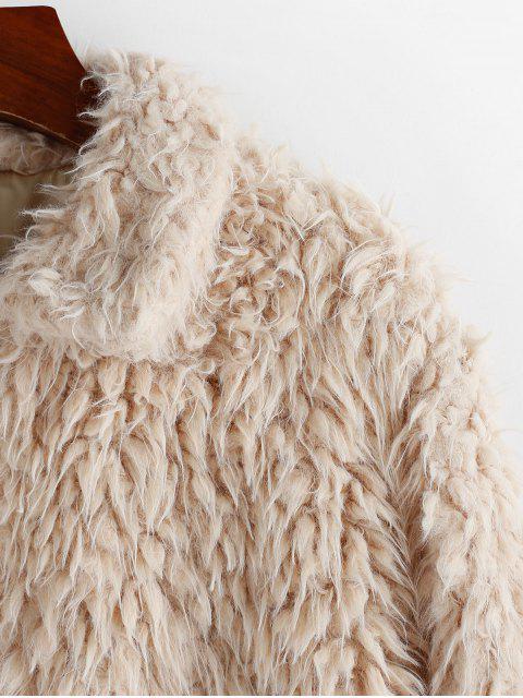ZAFUL Künstliche Lammfell Plüsch Mantel mit Reißverschluss - Tan XL Mobile