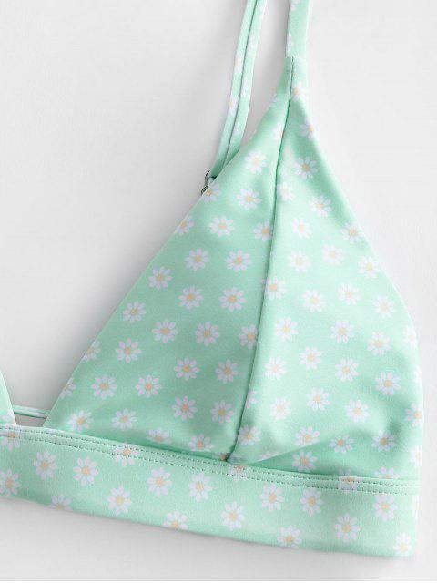 online ZAFUL Daisy Print Tie High Leg Bikini Swimsuit - MINT GREEN S Mobile