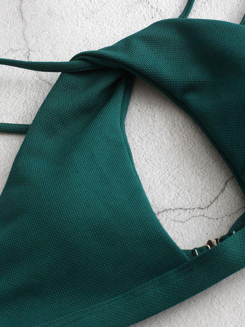 ZAFUL Bikini Recortado con Giro de Textura - Azul Verdoso M Mobile