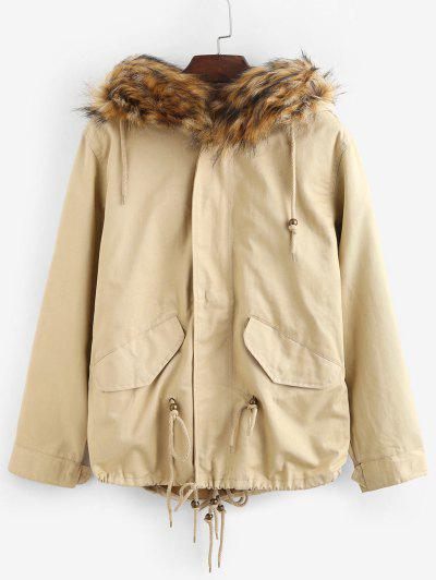 Faux Fur Hooded Parka Jacket - Light Khaki Xl