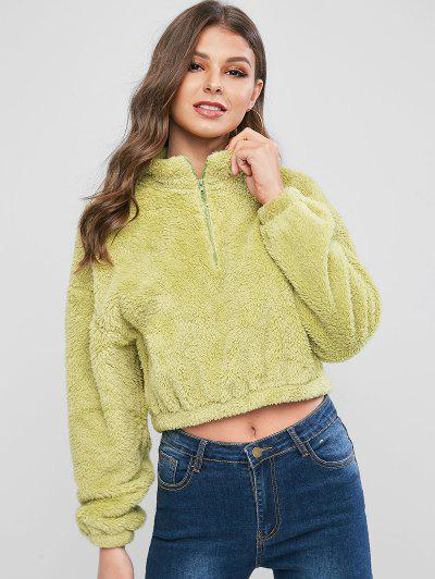 ZAFUL Half Zip Cropped Fuzzy Sweatshirt - Green Xl