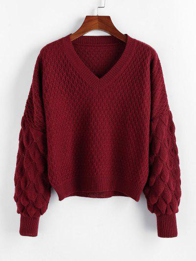 ZAFUL Fish Scale Knit Drop Shoulder V Neck Sweater - Red Wine M