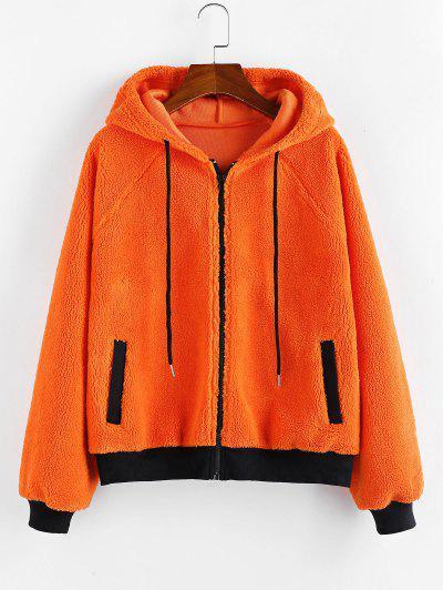 Raglan Sleeves Contrast Teddy Jacket - from $28.49
