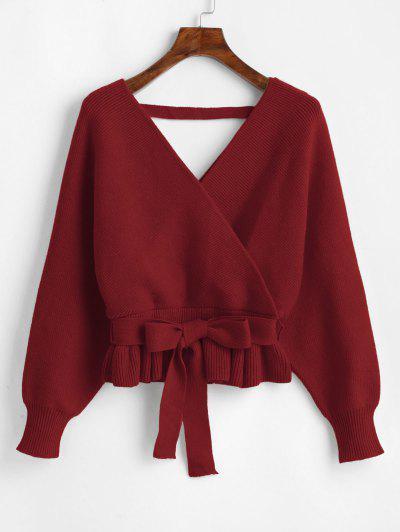 Plunging Batwing Sleeve Peplum Belted Sweater - Firebrick