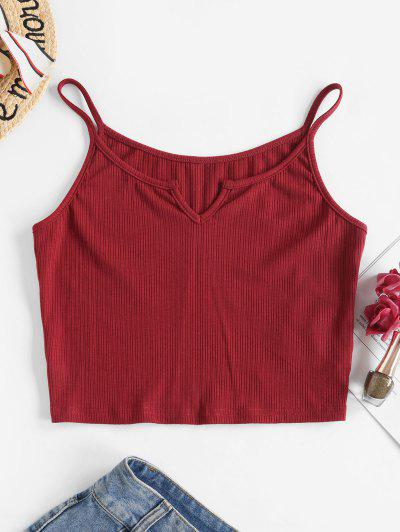 ZAFUL Ribbed V Notched Crop Camisole - Red M