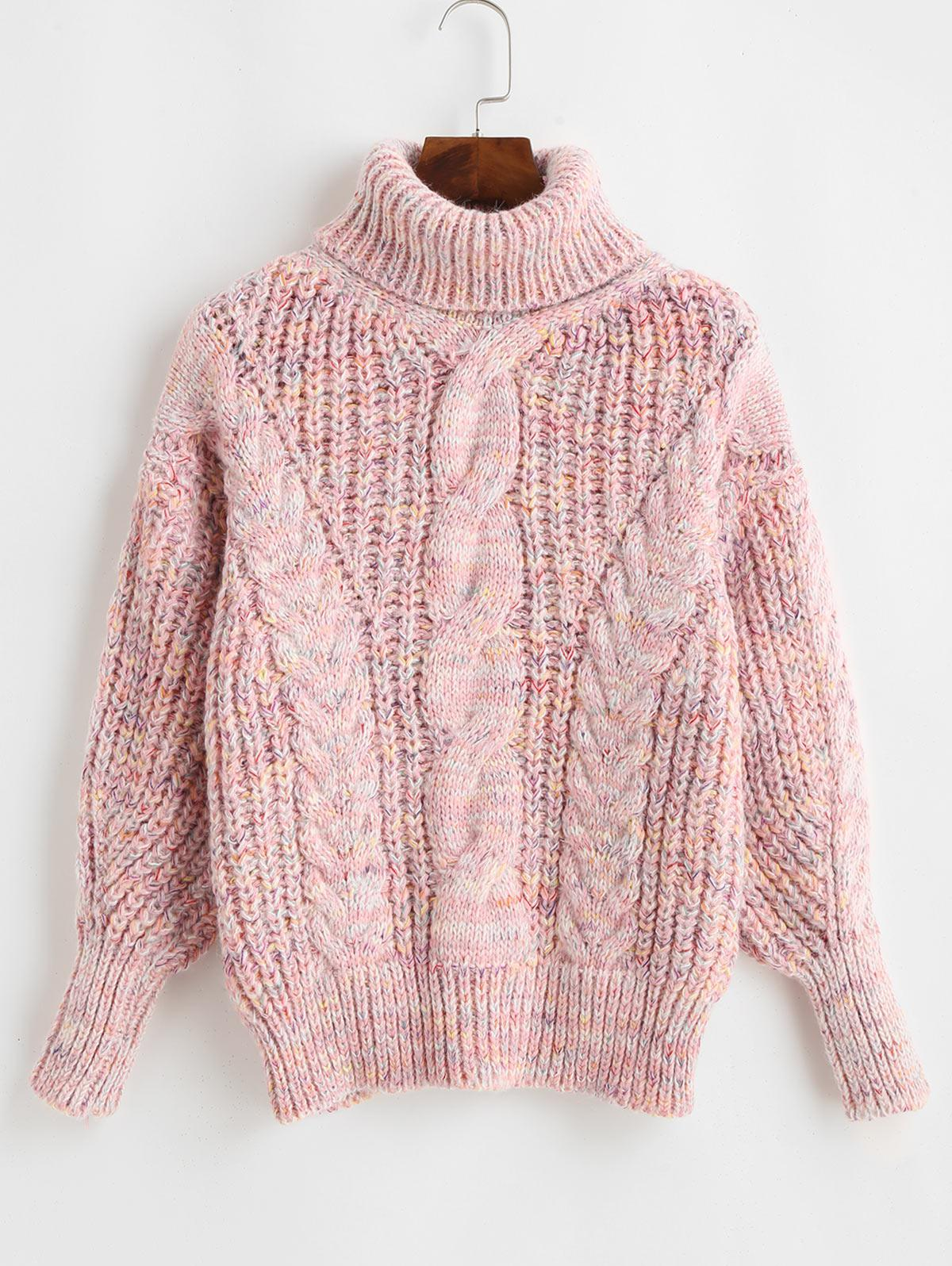 Heathered Turtleneck Cable Knit Pullover Sweater