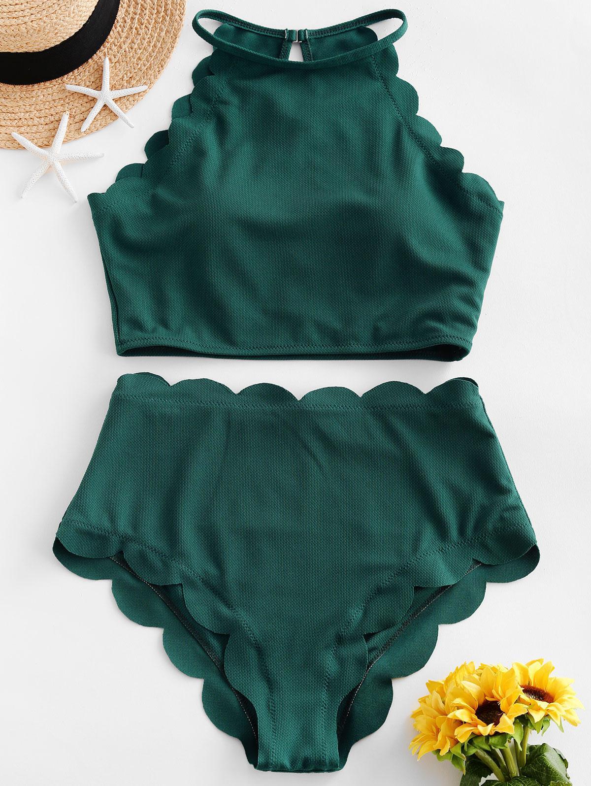ZAFUL Textured Scalloped Tankini Swimsuit фото