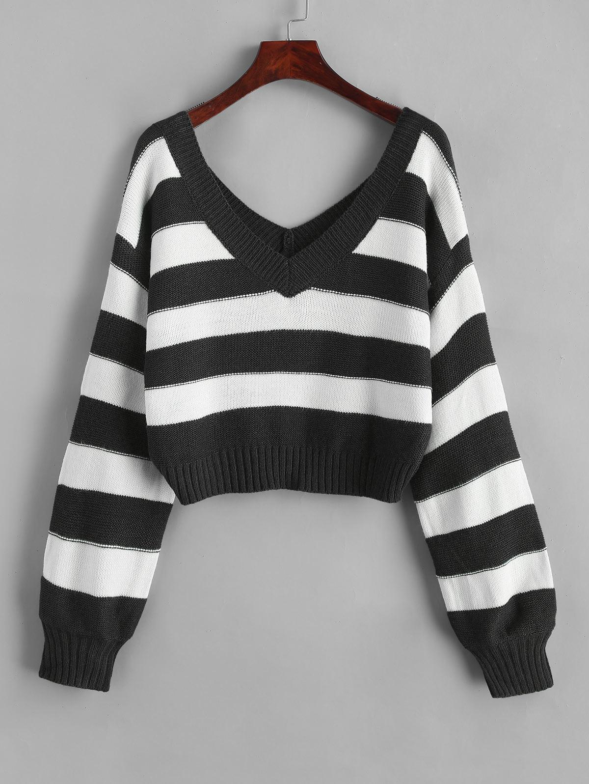 ZAFUL Double V Stripes Color Block Pullover Sweater, Black