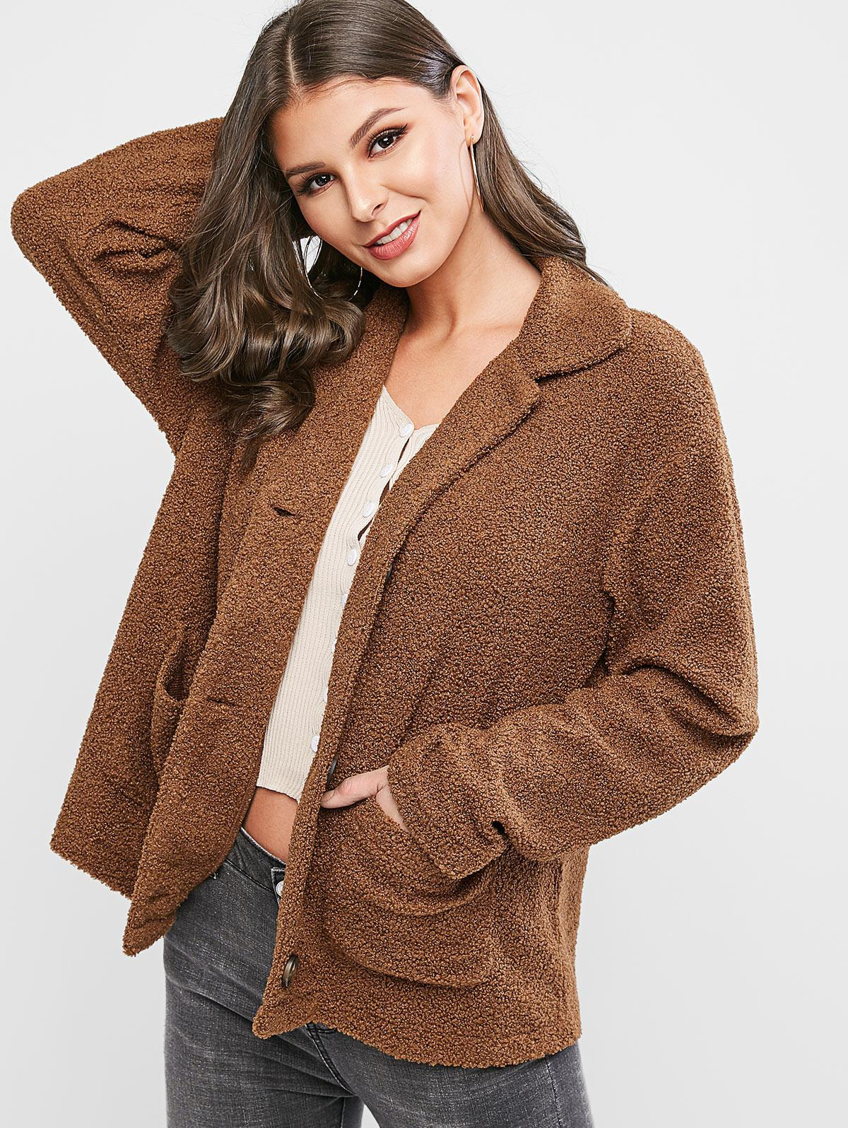ZAFUL Button Front Dual Pocket Teddy Jacket