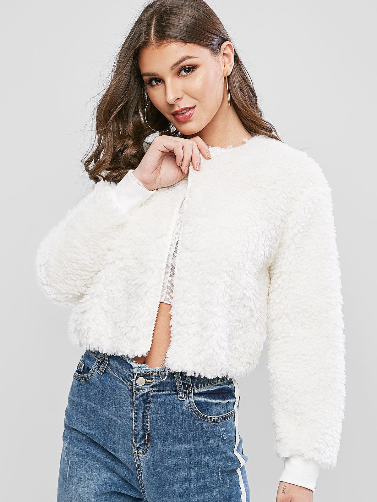 ZAFUL O Ring Zip Up Faux Fur Jacket