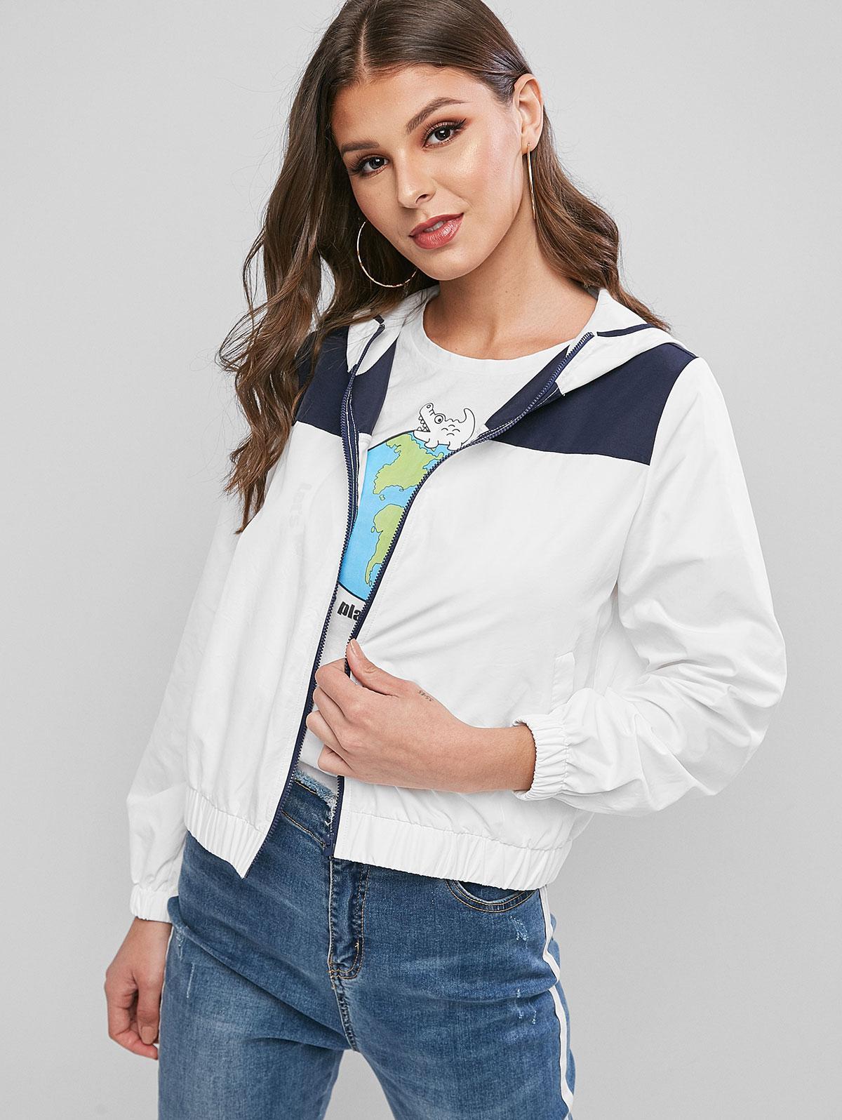 ZAFUL Colorblock Zip Up Hooded Windbreak Jacket