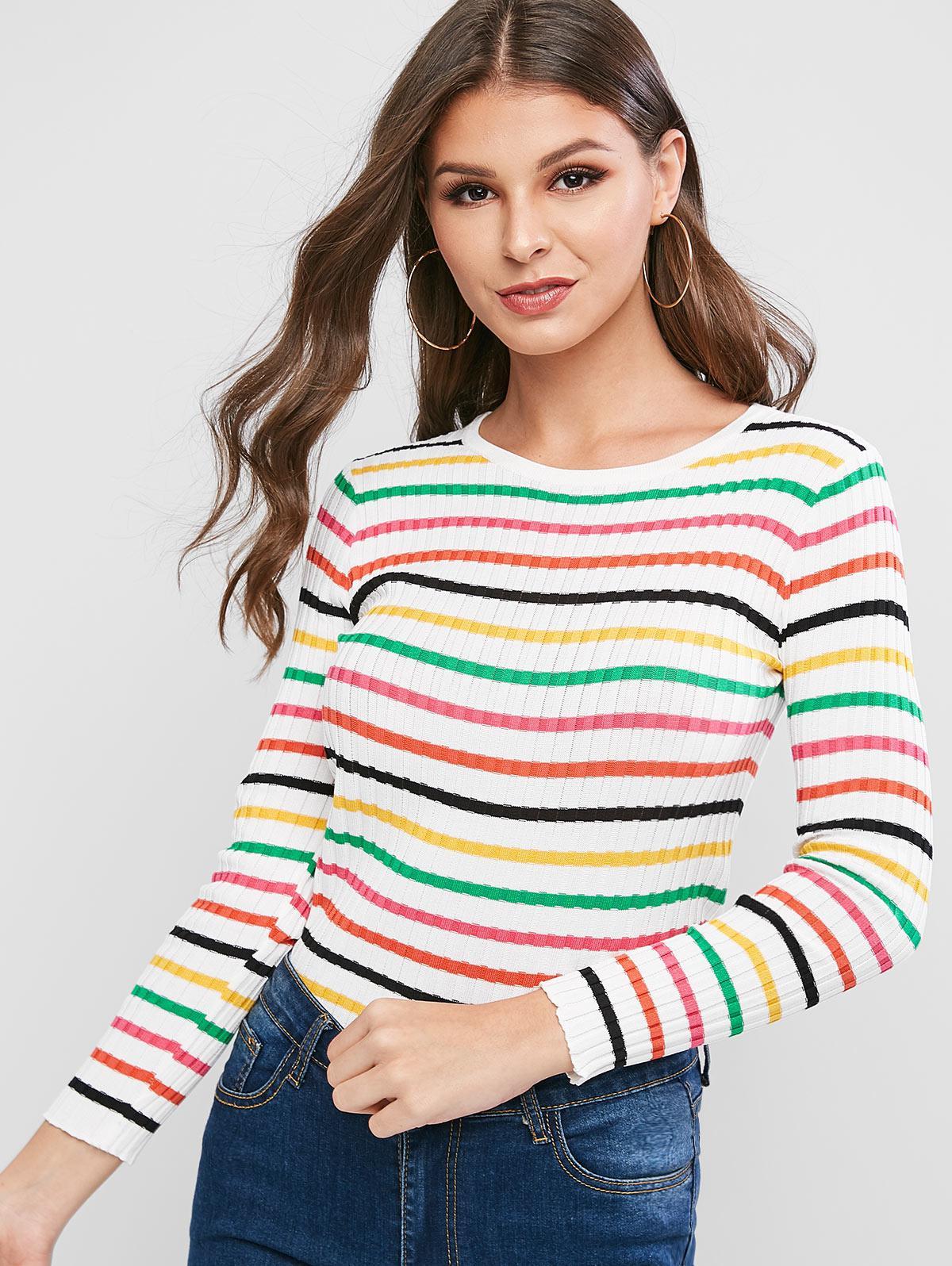 Rainbow Striped Ribbed Slim Knitwear