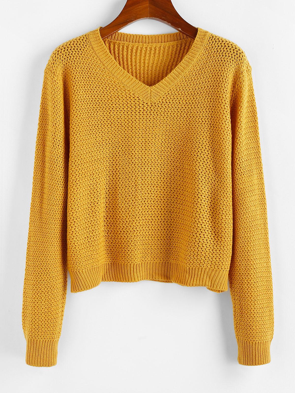ZAFUL V Neck Plain Jumper Sweater