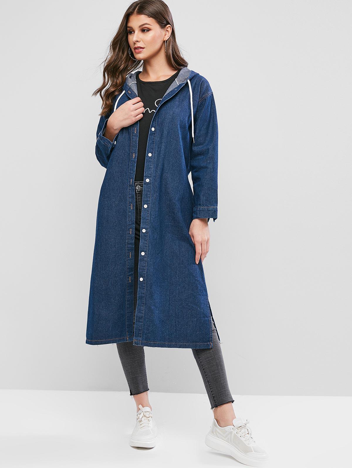 Hooded Slit Longline Denim Coat