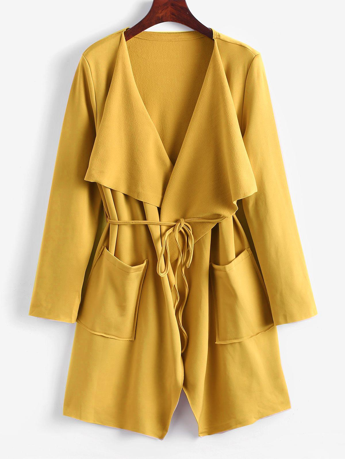 Belted Skirted Patched Pockets Waterfall Coat