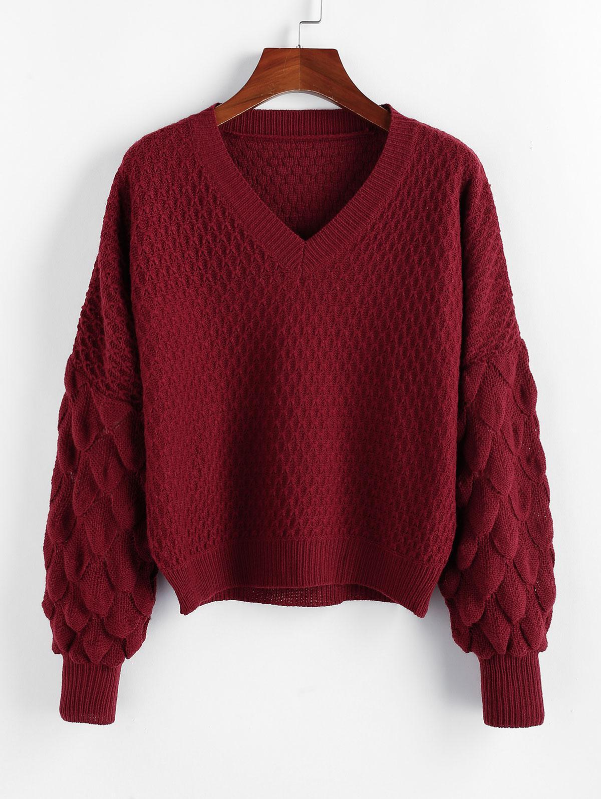 ZAFUL Fish Scale Knit Drop Shoulder V Neck Sweater