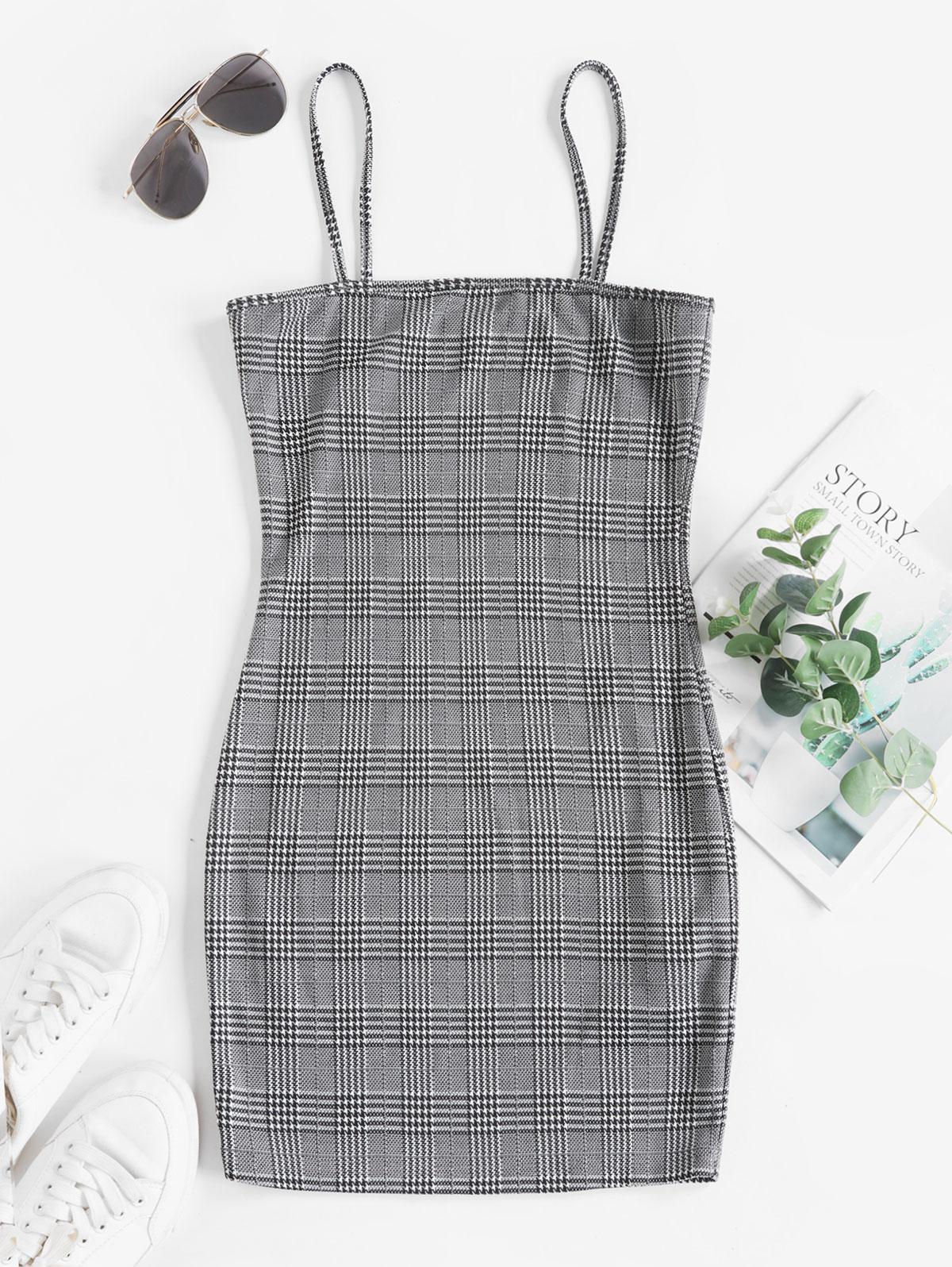 ZAFUL Plaid Spaghetti Strap Sheath Dress