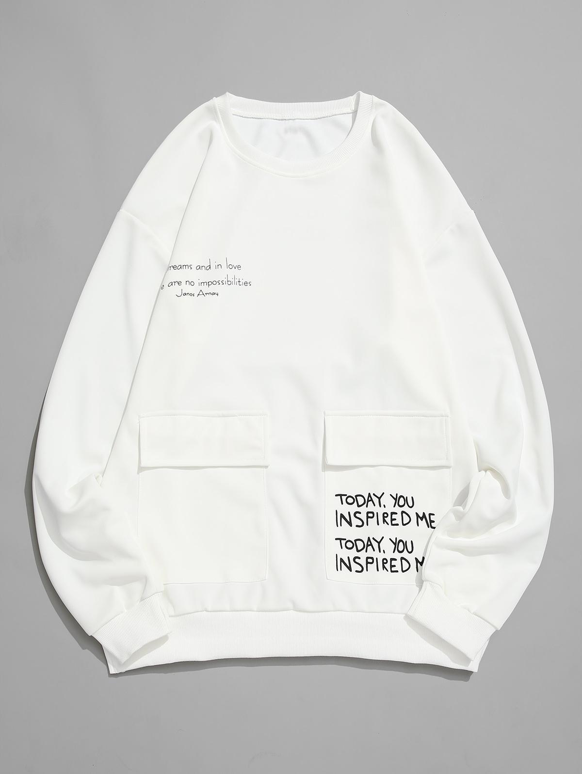 Letter Graphic Print Flap Pocket Crew Neck Sweatshirt thumbnail
