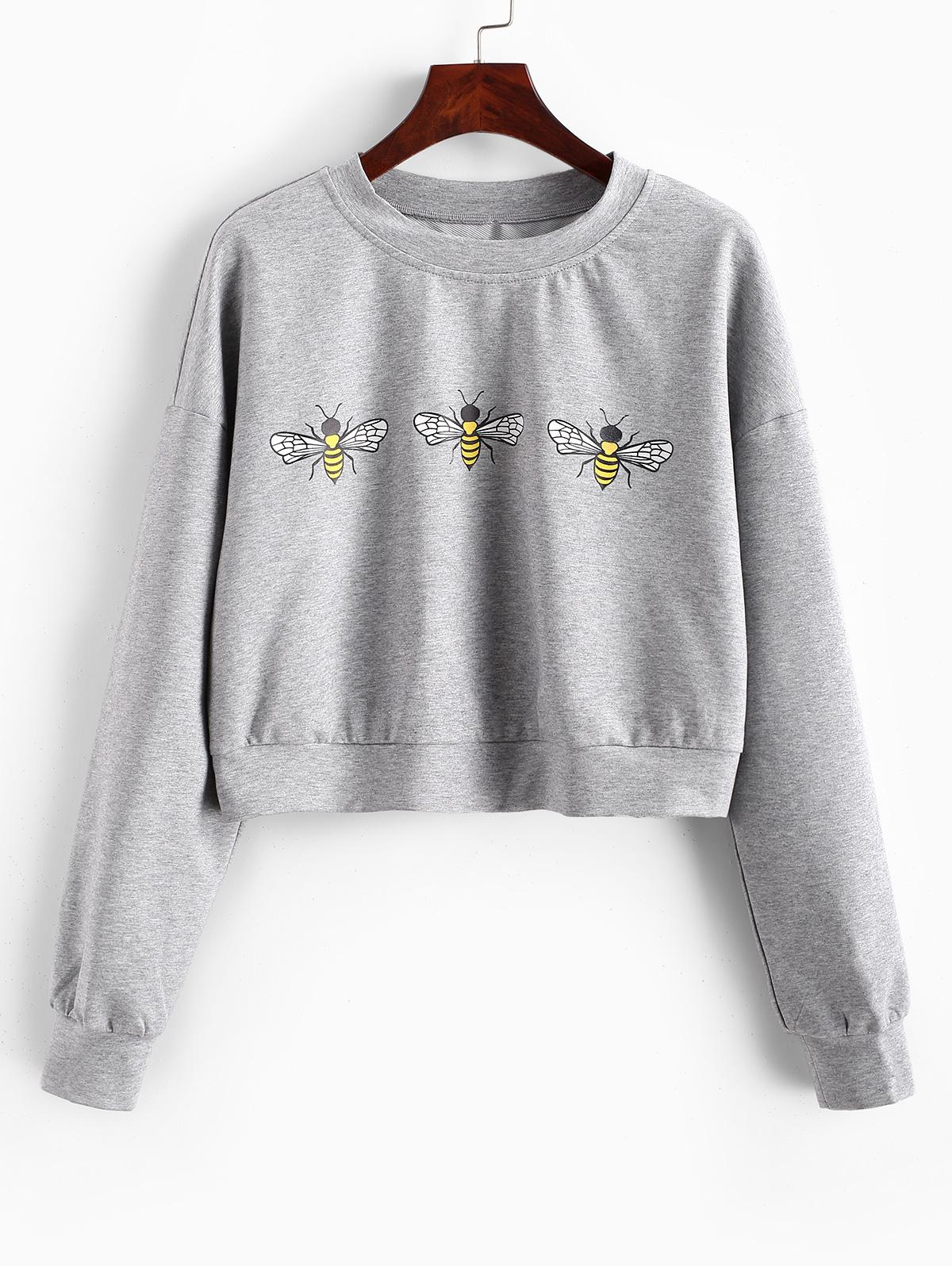 ZAFUL Bee Graphic Cropped Sweatshirt фото