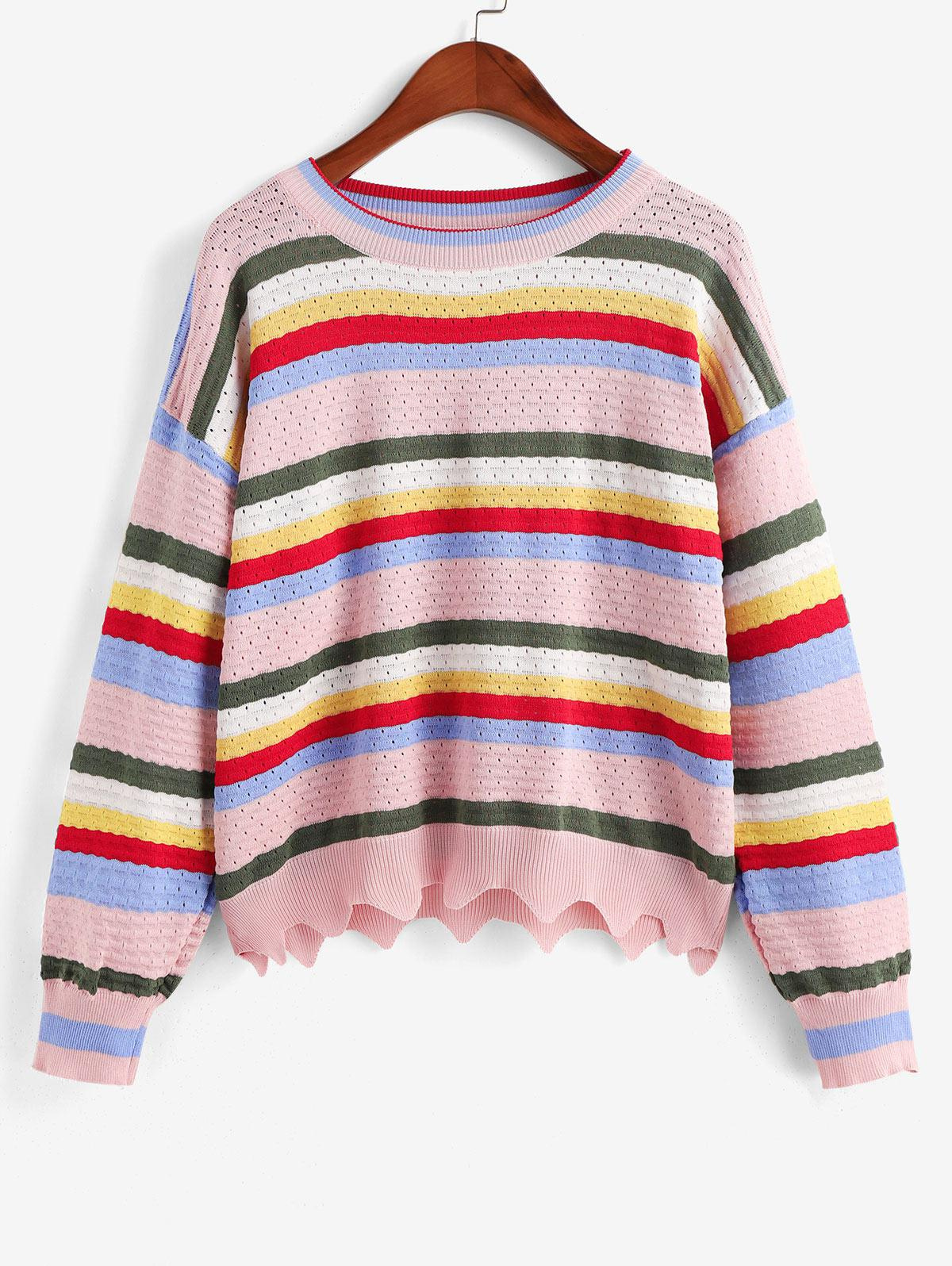 Zig Zag Hem Stripes Pointelle Knit Crew Neck Sweater