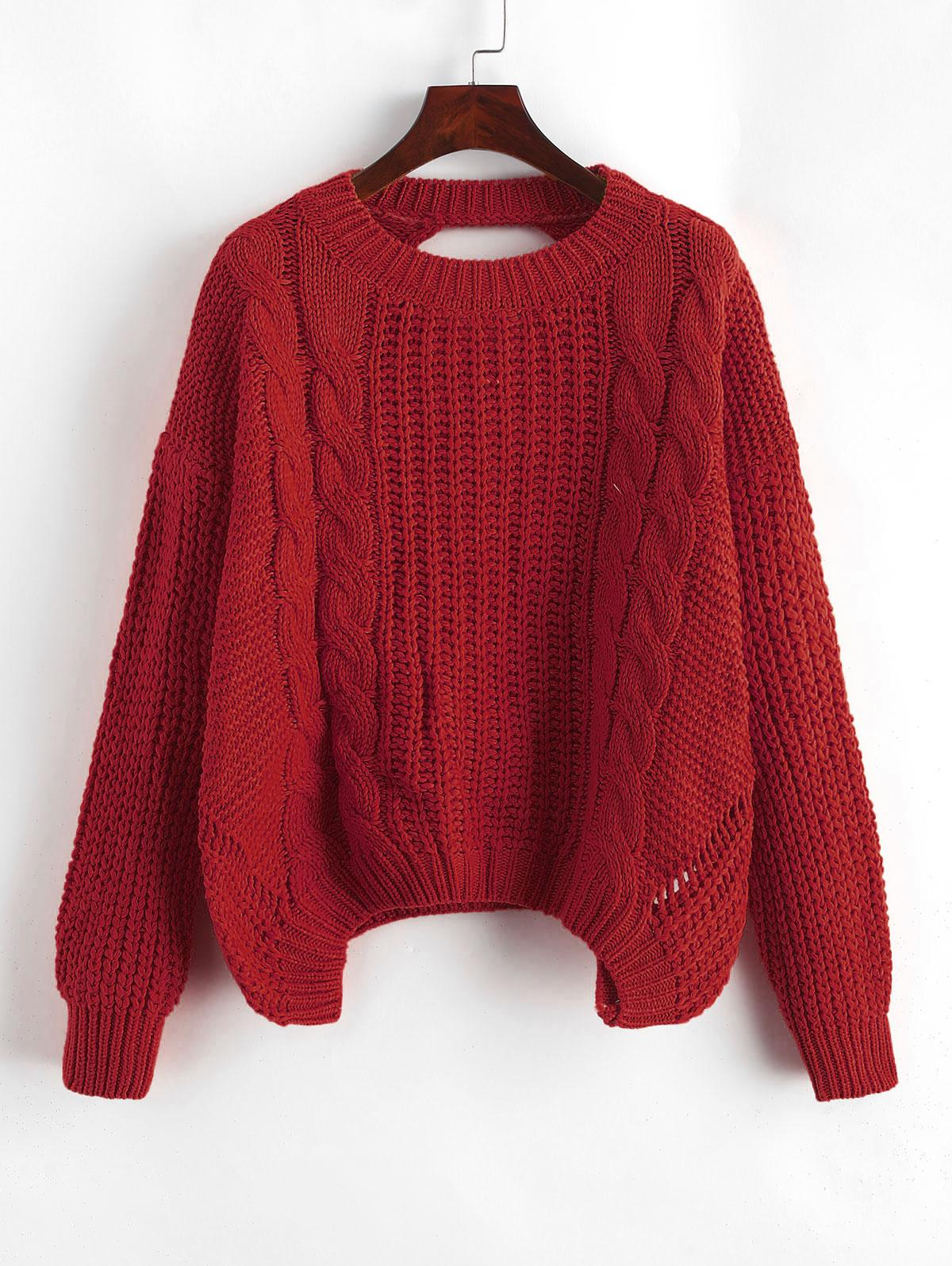 Drop Shoulder Cable Knit Cut Out Back Sweater