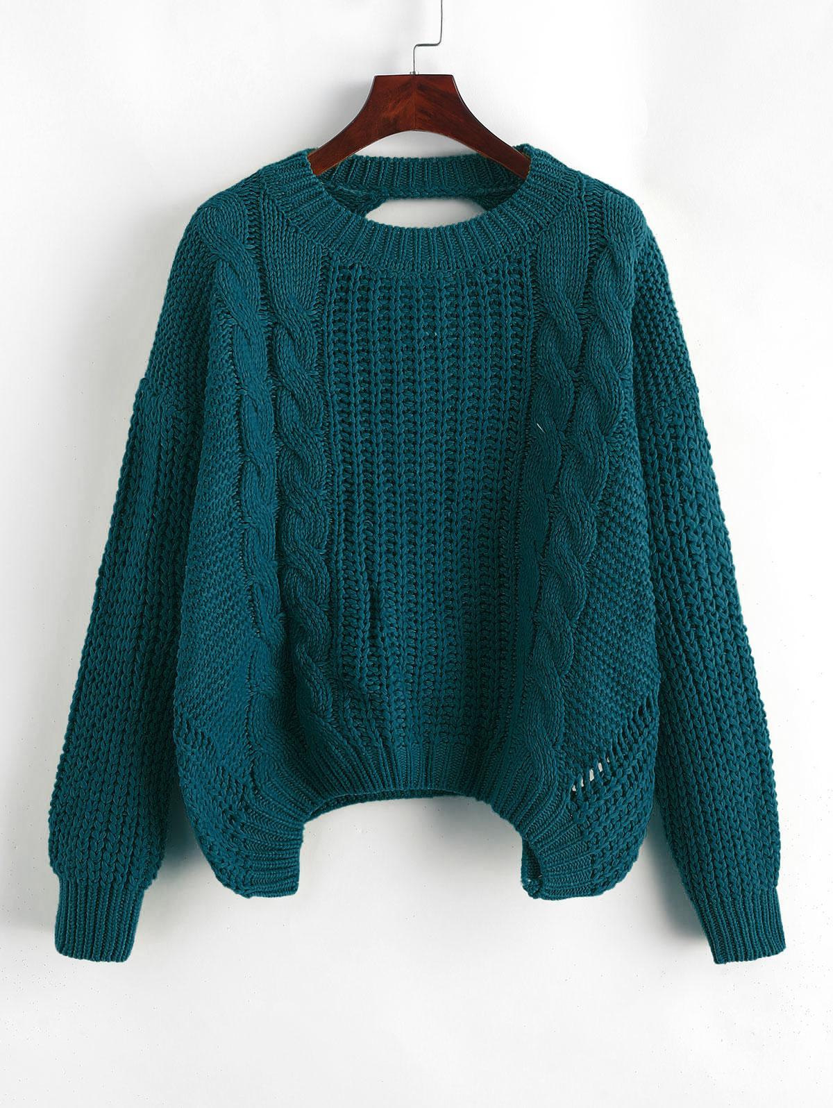Drop Shoulder Cable Knit Cut Out Back Sweater