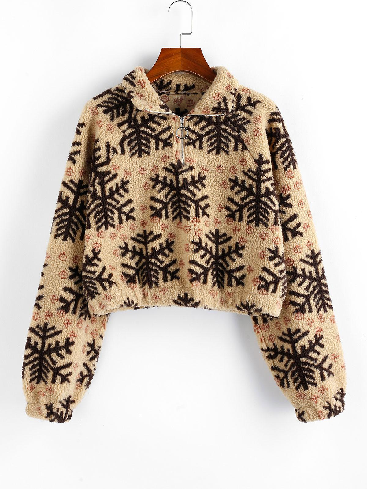 ZAFUL Christmas Snowflake Quarter Zip Teddy Sweatshirt