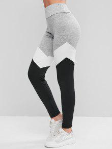 Colorblock عالية الخصر اللباس الرياضي - متعددة-a S