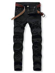بالأسى البريدي مزين تحلق جينز عادية - أسود 32
