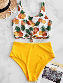 ZAFUL الأناناس معقود السامي قص Tankini ملابس السباحة - أصفر فاقع S