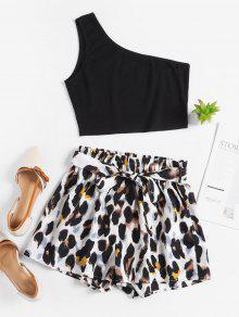 One Shoulder Leopard Belted Shorts Set
