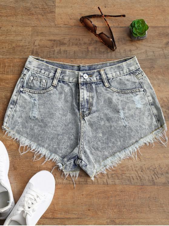 shops Ripped Frayed Hem Bleach Wash Denim Shorts - BLEACHED COLOR S