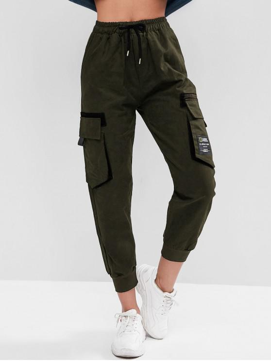 affordable Drawstring Slogan Patched Flap Pockets Jogger Pants - ARMY GREEN M