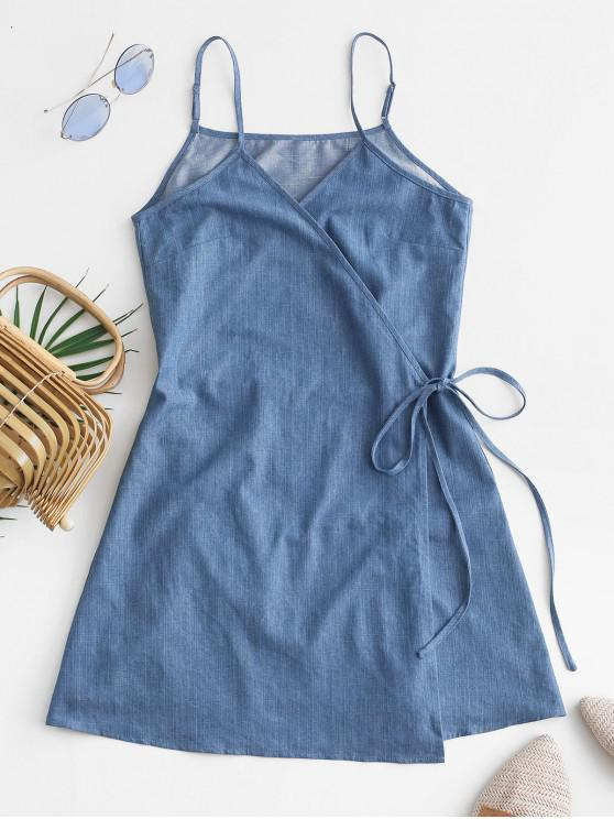 shop ZAFUL Tie Chambray Cami Wrap Dress - SILK BLUE L