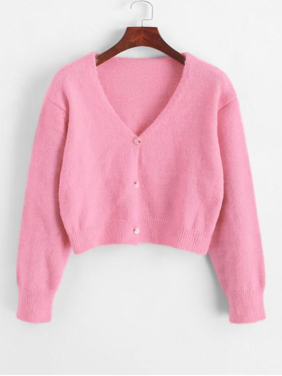 best Fuzzy Button Up V Neck Cropped Cardigan - PINK ONE SIZE