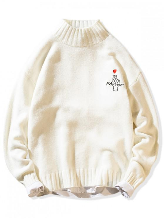 online Forever Finger Heart Graphic Mock Neck Pullover Sweater - WHITE S