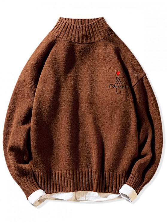 Siempre dedo corazón Mock gráfico cuello jersey suéter - Café XS