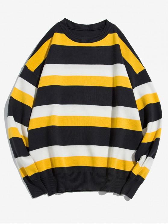 El bloqueo de color de las rayas informal suéter suéter - Negro XS