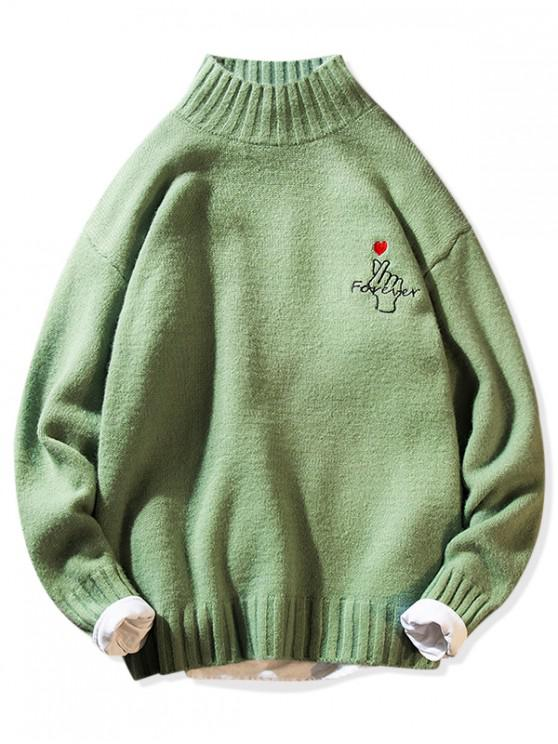 sale Forever Finger Heart Graphic Mock Neck Pullover Sweater - GREEN XS
