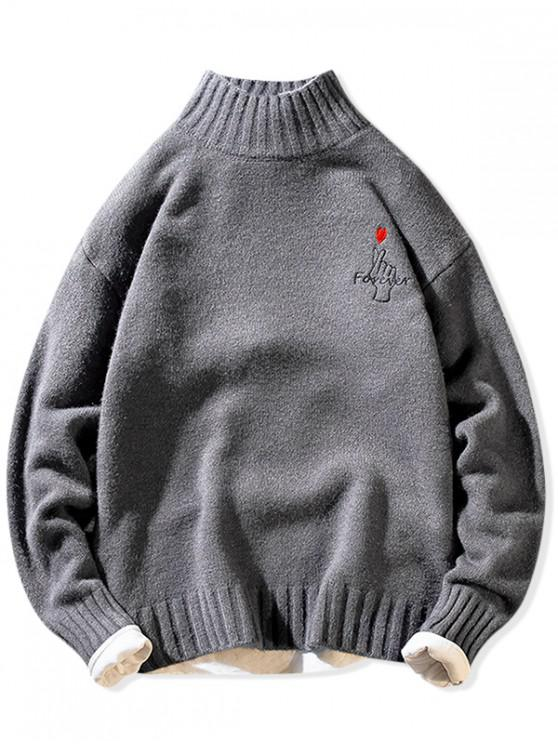 new Forever Finger Heart Graphic Mock Neck Pullover Sweater - GRAY S