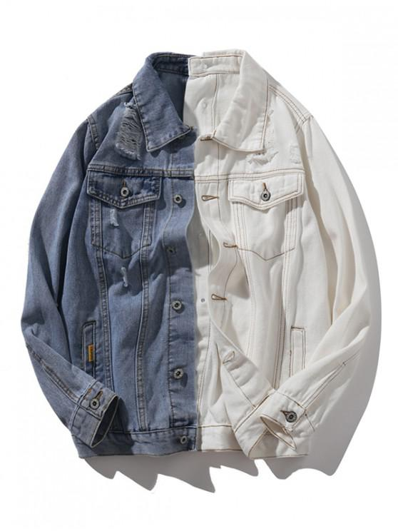 outfits Two Tone Double Button Up Pockets Denim Jacket - MULTI L
