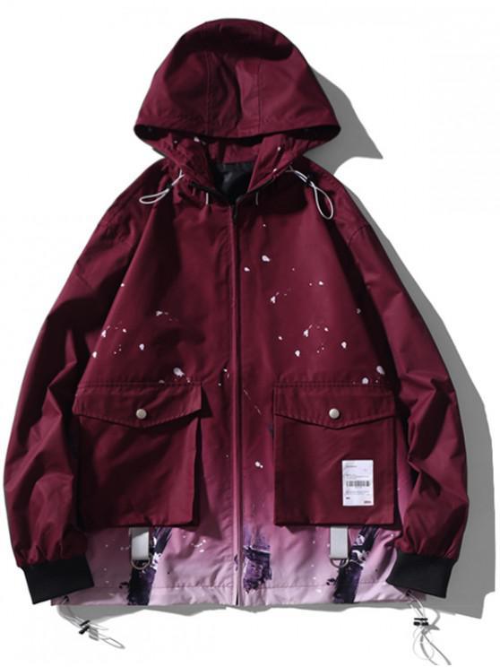 Hem cordón Gradiente salpicaduras de pintura chaqueta con capucha - Vino Tinto L