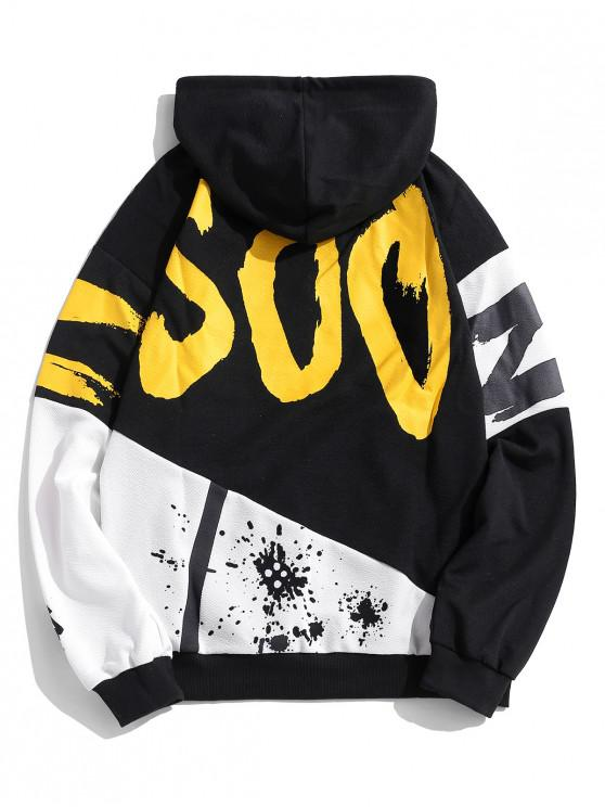 latest Casual Style Letter Print Hoodie - BLACK L