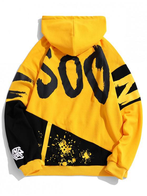 best Casual Style Letter Print Hoodie - YELLOW 3XL