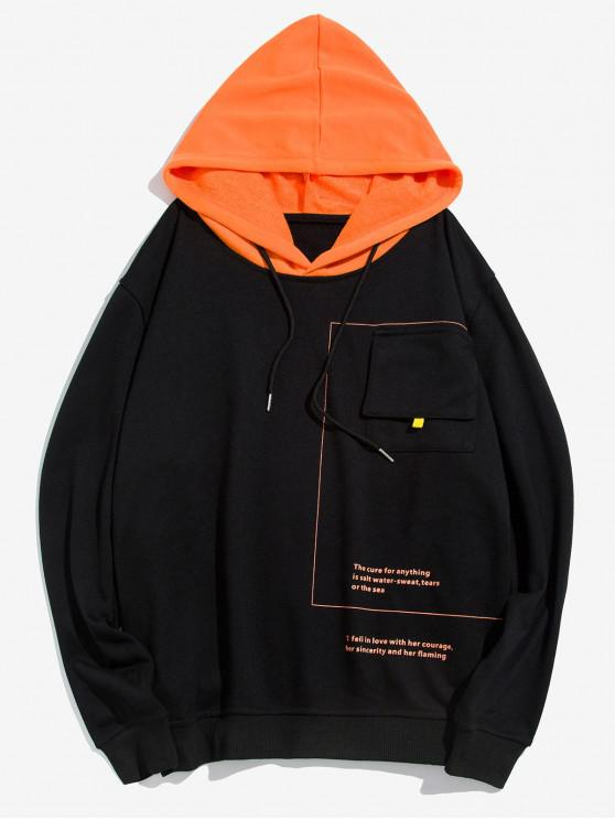 shops Letter Pocket Decorated Hoodie - BLACK XL