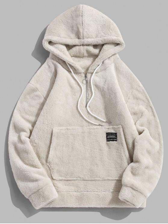 outfit Applique Solid Color Faux Fur Half Zipper Drawstring Hoodie - WARM WHITE L