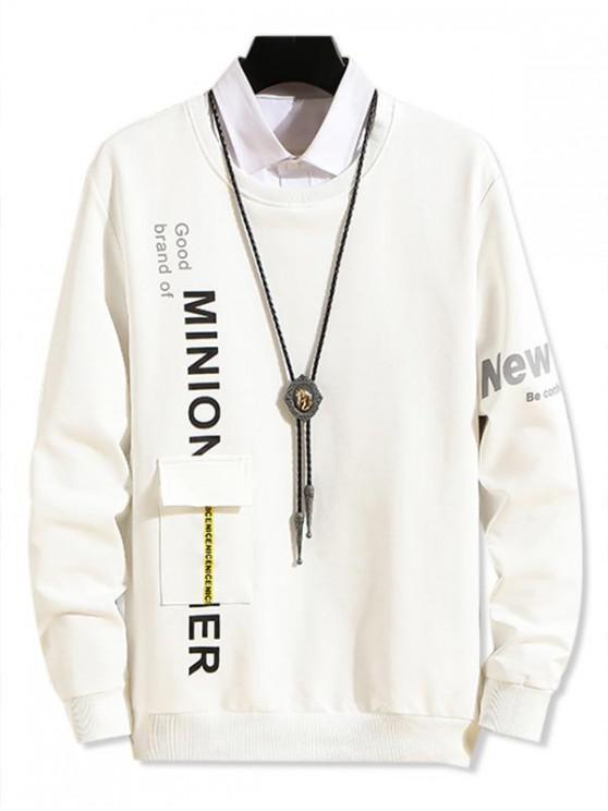 buy Pocket Design Letter Print Casual Sweatshirt - WHITE L
