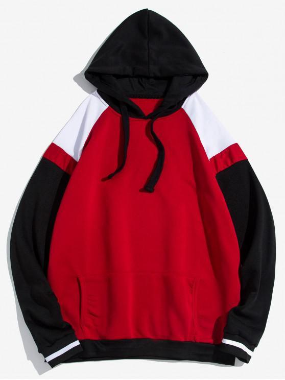 shops Kangaroo Pocket Contrast Fleece Pullover Hoodie - RED L