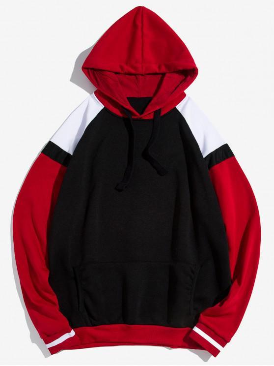 online Kangaroo Pocket Contrast Fleece Pullover Hoodie - BLACK 2XL