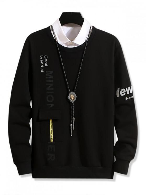 Diseño bolsillo letra de la impresión ocasional de la camiseta - Negro XS